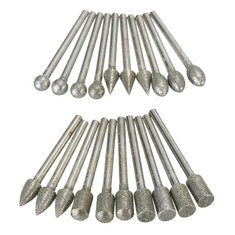 20pcs 3mm Shank Diamond Grinding Burr Drill Bits Sets for Rotary Tools Grinding Head