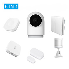 Original Xiaomi Aqara 6 IN 1 Smart Home Security Kits G2 Gateway Smart IP Camera Body Sensor Thermometer Wall Wireless Switch Door Window Sensor
