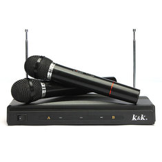 Dual Cordless Wireless Mic Microphone with Receiver