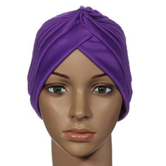 Stretchy Turban Maternity Sleep Hat Chemo Bandana Hijab Pleated Cap