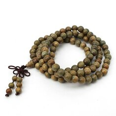 8mm 108 Green Sandalwood Buddhist Prayer Bead Mala Necklace Bracelet