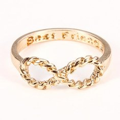 Sweet Gold Silver Plated Best Friends Words Bowknot Ring
