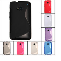 S Line Wave Shape Design TPU Gel Case Cover Skin For HTC ONE M7