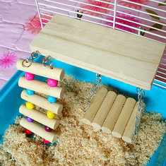 3Pcs Wooden Pets Toy Rat Mouse Bird Hamster Parrot Swing Bridge
