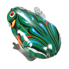 Vintage Metal Wind Up Jumping Frog Clockwork Tin ToyS-classic Gift