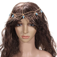 Lady Headdress Turquoise Stone Gold Headbrand Hair Cuff Chain