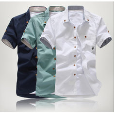 Men's Fashion Cotton Pure Color Short Sleeve shirt Sapphire