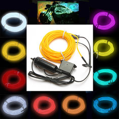 5M EL Neon Light Effect Light Cable Cord Wire 12V Inverter