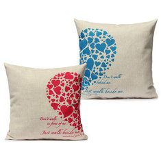 Linen Love Shape Lovers Throw Pillow Case Sofa Cushion Cover
