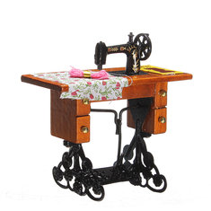 1:12 Vintage Sewing Machine Toys Little Girl Metal Wood Cloth Thread