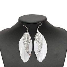 White Feather Angel Wing Dangle Earrings Ear Drop For Women