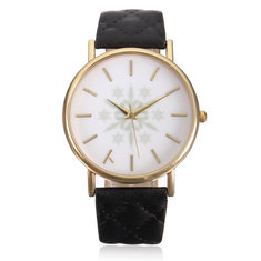 Snowflake Printed Gold Case Leather Band Women Quartz Watch