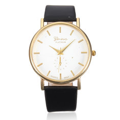 Casual Simple Face Gold Case PU Leather Men Women Wrist Watch