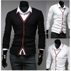 Winter Black White Business Casual Slim Mens Cardigan Sweaters