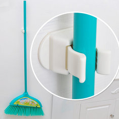 Multifunction Broom Mop Hook Pole Holder Spring Clip Design
