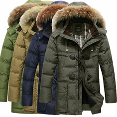 Mens Quality Horn Buckle Hooded Warm Long Down Jacket Coat