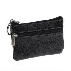 Men Women Durable Leather Zipper Coin Purse Mini Wallet Key Pouch