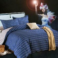 3 Or 4pcs Dark Blue Pure Cotton Taffeta Stripe Printed Bedding Sets