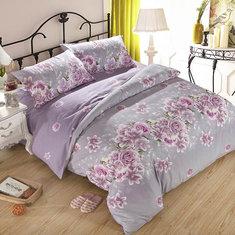 3 Or 4pcs Purple Rose Flower Reactive Print Polyester Fiber Bedding Sets