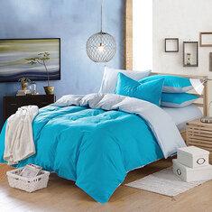 3/4pcs Suit Sky Blue Reactive Dyeing Purified Cotton Bedding Sets