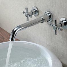Chrome Brass Modern Wall Mounted 3 Hole Bath Faucet Tap