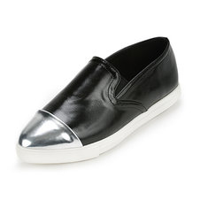 Women Ladies Flats Vintage PU Leather Loafers Pointed Toe Silver Metal Design