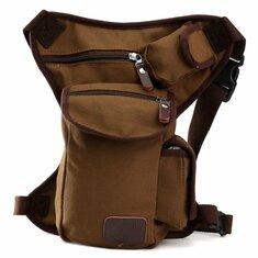 Men Outdoor Canvas Drop Waist Leg Bags Waist Pack Bag Running Belt Bicycle and Motorcycle