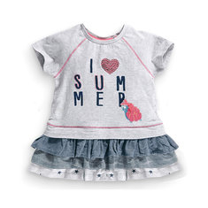2015 New Little Maven Baby Girl Children I LOVE Summer Dress Grey Cotton Top&Lace Skirt