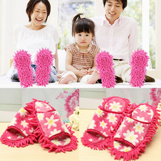 2Pcs Dusting Dust Mop Broom Cleaning Slippers Lazy Shoes Room Floor Cleaner