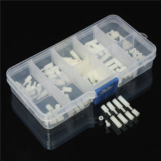 Suleve™ M2NH1 M2 Nylon Screw White Hex Screw Nut Nylon PCB Standoff Assortment Kit 120pcs