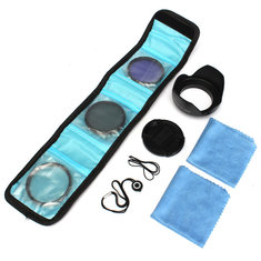 58mm UV FLD CPL Circular Polarizing Filter Kit Set With Lens Hood For Canon Camera