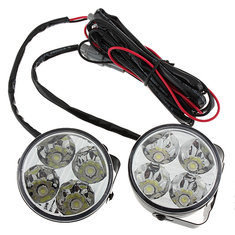 A Pair 4W DC 12V 4LED Round White Car Daytime Running Light