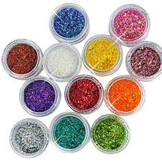 12 Color Short Glitter Strip Lace Nail Art Design Set