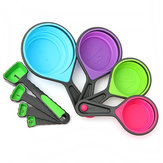 8pcs Silicone Colorful Collapsible Measuring Cups Spoons Kitchen Tool Cream Cooking Gadget