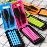 Portable Tableware Sets Folding Spoon Fork Chopsticks Outdoor Travel Lunch Box Tableware