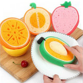 4Pcs Lovely Fruit Strong Decontamination Sponge Microfiber Washing Dishes Kitchen Tool