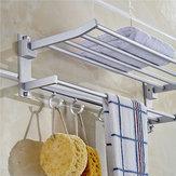 Mensola da Bagno Porta Asciugamani in Aluminio Pieghevole in Colore Argento per Asiugamano da Bagno con 5 Ganci