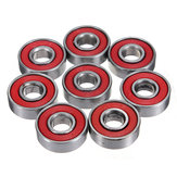 10шт красный запечатанный паза скейтборд шаровой подшипник 608 2rs с 8x22x7mm