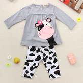 Baby Girls Cow Clothing Sets Top Shirt Trousers Outfit