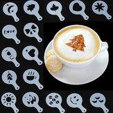 16Pcs Cappuccino Latte Art Coffee Stencils Duster Cake Icing Spray