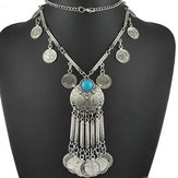 Vintage Coin Tassel Long Chain Pendant Necklace For Women