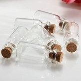 10Pcs Mini Clear Wishing Message Glass Bottles Vials Jars With Cork