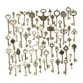 69pcs Mixed Vintage Heart Owl Crown Key Necklace Pendant Charm DIY