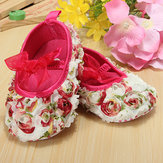 Baby Girl Infant Toddler Lace Flower Rose Bow Soft Crib Shoes