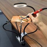 USB LED 3X Magnifier PCB Fixture Bench Vise Table Abrazadera Soldadura Mano amiga Soldadura Tercera mano de estación herramienta con brazos flexibles 5Pcs