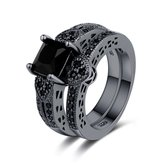 2Pcs/set Classic Engagement Ring Gun Black Zirconia Heart