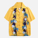 Original Men Pineapple Floral Print Holiday Hawaiian Shirts