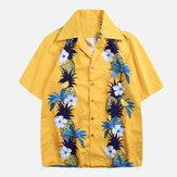 Original Camisas hawaianas del día de fiesta del estampado floral de los hombres