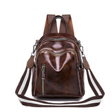 Women Faux Leather Solid Vintage Backpack Travel