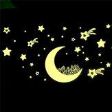Brillar en etiquetas engomadas luminosas estrella de la luna oscura de la pared de la decoración del cuarto de los niños calcomanía de vinilo adhesivo mural